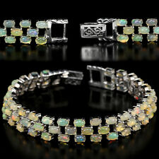 Sterling Silver 925 Genuine Natural Opal Oval Three Row Bracelet 7 Inches