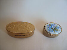VINTAGE BRASS MAX FACTOR LIPSTICK HOLDER & METAL PORCELAIN PILLS RING HOLDER SET
