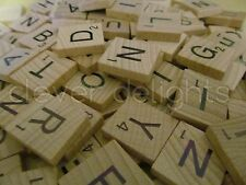 100 SCRABBLE TILES *NEW Wood Scrabble Letters* Pendants Crafts Spelling Pieces
