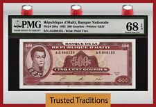 """TT PK 264a 1993 REPUBLIQUE D'HAITI 500 GOURDES """"ALEXANDRE PETION"""" PMG 68 EPQ"""
