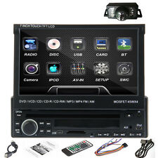 "Rear Cam 7"" Single 1 Din Touch Screen Car Stereo Radio DVD Player iPod Bluetooth"