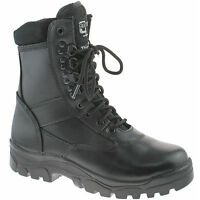 MENS GRAFTERS COMBAT CADET BOOTS SIZE UK 3 - 15 TACTICAL BLACK LEATHER M671A KD