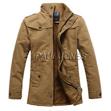 THICK Army Style Men Winter Military Jacket Parka Warm Trench Coat Overcoat Long