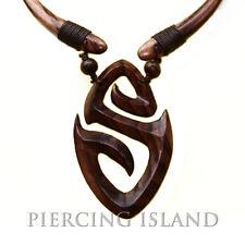 Halskette Anhänger Kette Choker Maori Holz Design N104