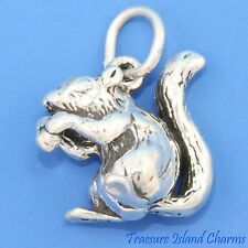 SQUIRREL CHIPMUNK WITH NUT 3D .925 Solid Sterling Silver Charm NEW
