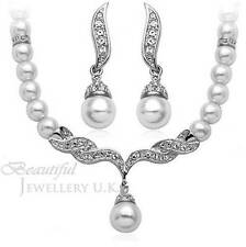 White Pearl & Silver Bridal Jewelry Jewellery Wedding Set Necklace Earrings
