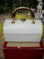 Small Vintage RODO Cream Leather Handbag Purse~Gold Handles~Made in Italy