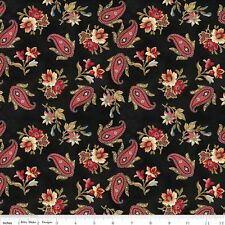 Victoria Paisley on Black Penny Rose Riley Blake Quilt Fabric by the 1/2 yd