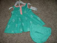 Carter's Baby Girls Teal Flower Summer Dress Set Size 3 Months 3M NWT NEW 0-3 mo