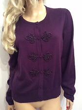 Laura Ashley Size 18 Simply Fab Angora Wool Mix Damson Beaded Cardigan Top £55