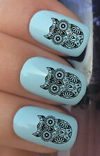 NAIL ART SET #374 x24 SUGAR SKULLS TRIBAL OWL WATER TRANSFER DECALS STICKERS