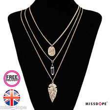 NEW ANTIQUE GOLD LEAF LONG  MULTI LAYER NECKLACE PENDANT BULLET AZTEC WOMENS UK