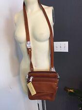 Small Leather Top Zip Crossbody Bag Organizer Purse British Tan Nwt