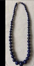 Graduated Large Real Lapis Lazuli Bead Necklace With 925 Silver Clasp 19""