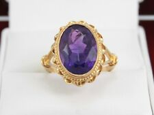 Amethyst Solitaire Ring 9ct Gold Stuning Ladies Vintage 375 Size N A90