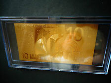 24 Kt Gold 10 Euro €-European Union Money 2002 *Gift Bill Comes In Acylic Holder