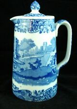 "Spode BLUE ITALIAN Hot Water Jug 6 1/8"" height vintage BS -AS IS Lid with chip"