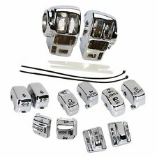 Chrome Switch Housing Cover+10 Cap For Harley Electra  Road  Tri Glide Touring