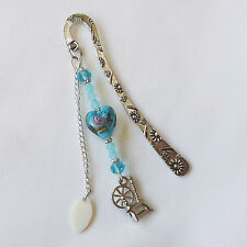 BOOKMARK, SPINNING WHEEL CHARM, LAMPWORK AND CRYSTAL BEADS.  HANDMADE  #188