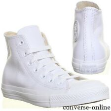 Men CONVERSE All Star WHITE MONO LEATHER HI TOP CHUCKS Trainers Boots UK SIZE 13