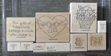 Stampin' Up GIFT OF HAPPINESS Set 11 Rubber Stamps Lot Valentines Day RARE