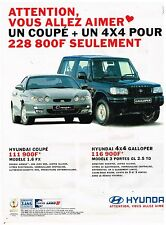 Publicité Advertising 2000 Hyundai Coupé et 4X4 Galloper
