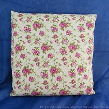 US Seller-pink roses boho chic vintage retro cotton linen cushion cover
