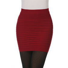 Fashion Ladies Womens Skirt Elastic Pleated High Waist Bodycon Short Mini Skirt