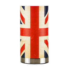 Vintage Style Distressed Union Jack Touch Table Lamp Brushed Chrome Light Home