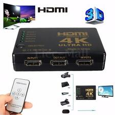3D 1080p 5 Port 4K HDMI Switch Switcher Selector Splitter Hub iR Remote For HDTV