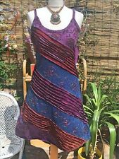 NEW HIPPIE VEST DRESS SIZE 12 / 14 BOHEMIAN PATCHWORK YOGA SKIRT GYPSY PURPLE