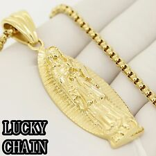 "STAINLESS STEEL GOLD VIRGIN MARY PENDANT 24""ROUND BOX CHAIN 61g E935"