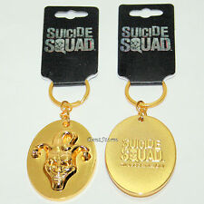 3D The JOKER Jester Suicide Squad Metal Keychain Key Ring Faux Gold DC Comics
