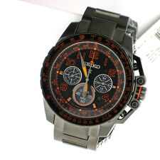 Seiko Solar Prospex Orange Mens SS Link Band Day Black Chronograph Watch SSC277