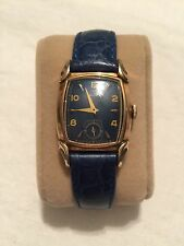 1951 Vintage Bulova Belmont Watch, 10 K Rolled Gold Filled, 15 Jewel, BLUE FACE