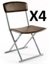 Lot de 4 chaises pliantes PVC simil-cuir en Marron, L.40.5 x l.40 x h.83 cm