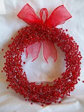 """Red Plastic Holly Berry Wire Beaded 12"""" Christmas Wreath Bow Cranberry Beads"""