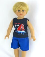 """Blue Sailor Boat Shorts Set Fits 18"""" American Girl or Boy Doll Clothes"""