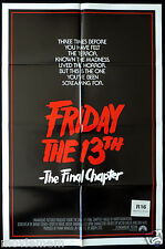 FRIDAY THE 13TH The Final Chapter Rare US ONE SHEET Movie poster