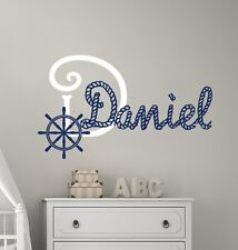 Monogram Boy Name Decal Sail Wheel Wall Decals Nautical Vinyl Sticker Decor T34