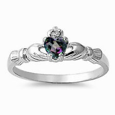 USA Seller Claddagh Ring Sterling Silver 925 Best Jewelry Rainbow Topaz Size 8