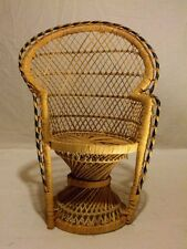"Small Peacock Fan Wicker Chair Bear Doll Furniture vintage retro 15.75"" Lovely"