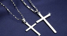 2 Pendants Solid Sterling Silver Pendants Cross Heart gift Couple anniversary