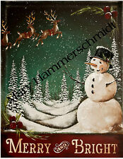 ORIGINAL ART BY MARY HAMMERSCHMIDT MERRY AND BRIGHT SNOWMAN PRINT * ESC *