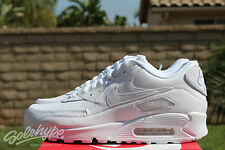 NIKE AIR MAX 90 LEATHER SZ 8 WHITE WHITE PURE TRUE 302519 113