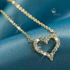 18K YELLOW GOLD GP SWAROVSKI CRYSTAL LOVE HEART PENDANT NECKLACE