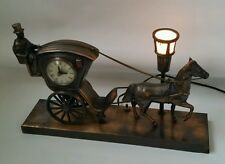 Vintage United Metal Goods Horse and Carriage Mantel Clock - Model 701