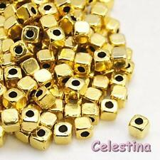 50 4mm Gold Tone Cube Spacer Beads - Square Beads LF CF NF- Golden Alloy Squares