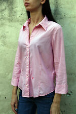 Jeckerson Womens Casual Shirt Striped White Pink Stretch 3/4 Sleeved L Large