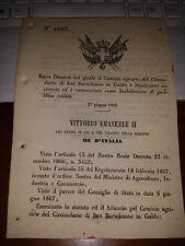 REGIO DECRETO 1868 COMIZIO AGRARIO DEL CIRCONDARIO SAN BARTOLOMEO in GALDO è LEG